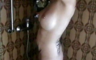 Hot ex-girlfriend Stellar Moon playing with cunt in shower