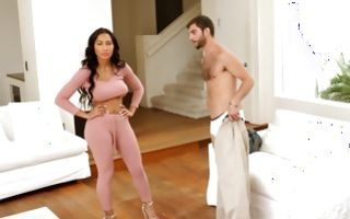 Charming stepsis Amia Miley with hot body fucked by stepbro