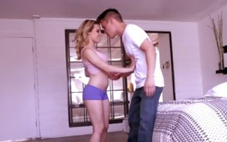 Sexy stepsis Aubrey Sinclair fucked by stepdad and stepbro