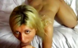 Hot blonde girlfriend moans loud rubbing clit and sucks deeply