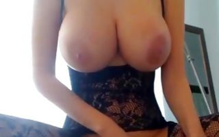 Impressive amateur blonde with big tits riding on sex toy