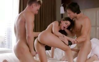 Insane threesome sex with adorable brunette ex-girlfriend