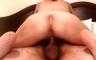 Spicy brunette GF with amazing round ass riding on pecker