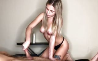 Horny young Ex-GF with cute tits making perfect handjob