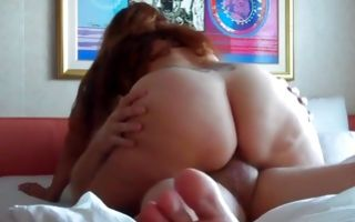 Nasty brunette GF with huge booty roughly fucked in slit