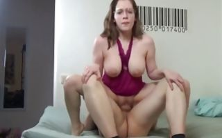 Chubby whore with giant boobs gets those melons covered in cum