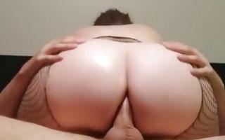Hot bitch with a giant fat ass riding an erect cock