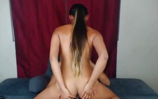 Teen babe swallowing his fat dick and then rides it