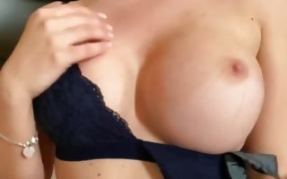 Hot babe with fake boobs and sexy lingerie fucking