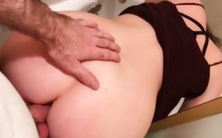 Hot lady bends over in the bathroom and gets slammed from behind