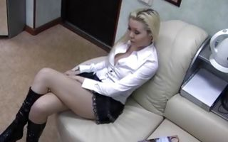 Horny blonde from Vorkuta loves rubbing clit in office