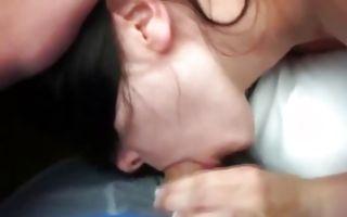 Raunchy brunette girlfriend sucks hard shaking her boobs
