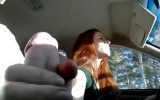 Naughty brunette girlfriend sucks hard in a car getting fingered