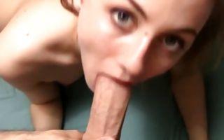 Gorgeous brunette girlfriend sucks hard in homemade xxx video