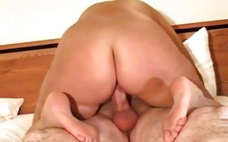 Raunchy milf brunette gets reverse cowgirl position pussy banged
